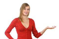 Girl with advertise gesture Stock Photo