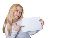 girl advertises goods Royalty Free Stock Photo