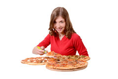 Girl advertises pizza. Girl advertises different kinds of pizza stock image