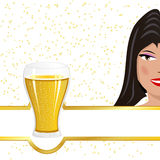 Girl advertising beer Royalty Free Stock Images