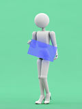 Girl for advertising cover. Abstract 3d render illustration, puppet person, white people, business woman, stands and holding in hand empty blank billboard,  on Royalty Free Stock Photo