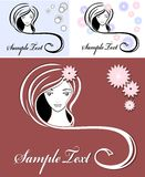 Girl advertising means of hair Royalty Free Stock Photo