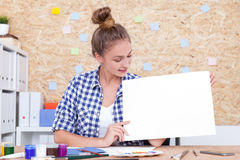 Girl advertising your product Royalty Free Stock Photo