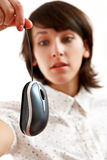 Girl affraid of computer mouse Royalty Free Stock Photos