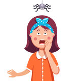 Girl afraid of a spider hanging from the top. Madly frightened woman. Girl afraid of a spider hanging from the top. Arachnophobia panic attack. Colorful flat Stock Images