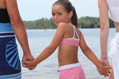 Girl afraid of the water Royalty Free Stock Photo