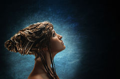 Girl with an african plaits Royalty Free Stock Images