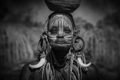 Girl from the African tribe Mursi, Ethiopia royalty free stock photos