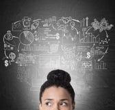 Girl& africano x27; ícones da cabeça e do negócio de s no quadro-negro Imagem de Stock Royalty Free