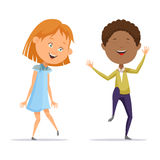Girl and afro american boy dancing with music Stock Photo