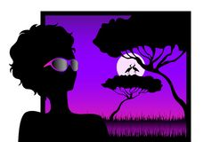 Girl against a decline in a safari. Silhouettes of the harmonous girl against a decline in a safari vector illustration