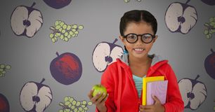 Girl against grey background with apple and books and glasses and fruit illustrations. Digital composite of Girl against grey background with apple and books and Royalty Free Stock Images