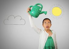 Girl against grey background with Green watering jug and sun and cloud Royalty Free Stock Photos