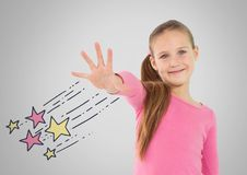 Girl against grey background with hand reached out and magic star illustrations. Digital composite of Girl against grey background with hand reached out and Stock Images