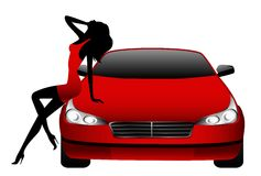 Girl against the red car. Silhouette of the beautiful girl against the red car on a white background Royalty Free Stock Images