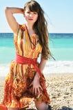 Girl against sea stock image