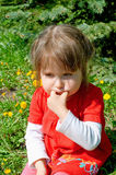Girl against yellow dandelions Royalty Free Stock Images