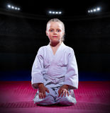 Girl aikido fighter at sports hall Stock Photo