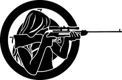 Girl aims from a rifle. With target background stencil Stock Image