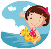 Girl in air buoy. Girl in yellow air buoy. vector illustration Stock Images