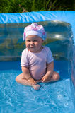 Girl in the air swimming pool. Little child sits in blue water in the swimming pool. Baby is dressed in pink clothes. She is smiling Royalty Free Stock Photo