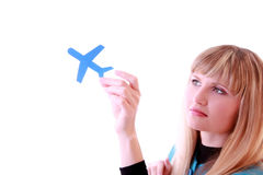 Girl and airplane Royalty Free Stock Photo