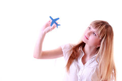 Girl with  airplane Stock Image