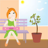Girl in airport. Vector illustration: woman in airport Royalty Free Stock Photo