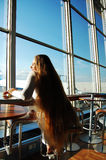 Girl at the airport Stock Photography