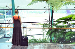 Girl at the airport Royalty Free Stock Photo