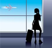 Girl in Airport. Girl with baggage in airport Stock Photography