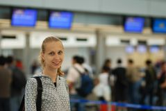 Girl in airport Royalty Free Stock Images