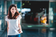 Girl in airport. stock photo