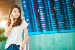 Girl in airport. Royalty Free Stock Photo