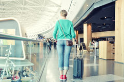 Girl in the airport Royalty Free Stock Photo