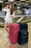 Girl at the airport Royalty Free Stock Images