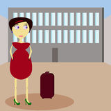 Girl in the airport. Illustration of girl with luggage at the airport Stock Photography
