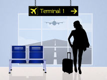 Girl in the airport scene. Illustration of girl in the airport scene Royalty Free Stock Image