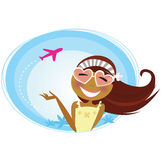 Girl on the airport traveling on vacation. Tourist girl on airport terminal. Landing airplane silhouette in background. Vector Illustration Stock Photos