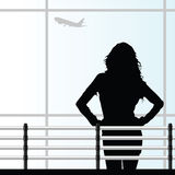 Girl on the airport vector illustration Royalty Free Stock Images