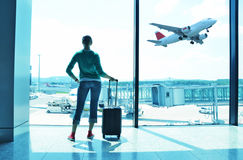 Girl at the airport Stock Photos