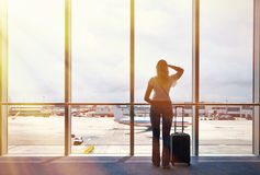 Girl in the airport Royalty Free Stock Images