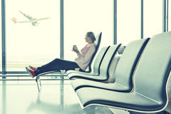 Girl in the airport Stock Photo