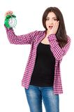 Girl with alarm clock Royalty Free Stock Photography