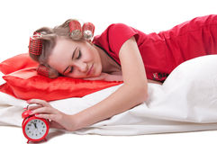 Girl with Alarm Clock Stock Photo
