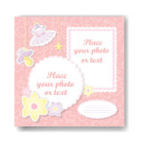 Girl album page. Girl album page of pink photo book for new born girl royalty free illustration