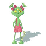 A girl alien with a doll. The animation girl humanoid in pink trousers, with bows and a rag doll Royalty Free Stock Images
