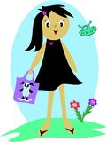 Girl with Alien Panda Purse Royalty Free Stock Photography