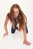 Girl is on all fours Royalty Free Stock Photography