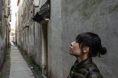 Girl in the alley Royalty Free Stock Photos
